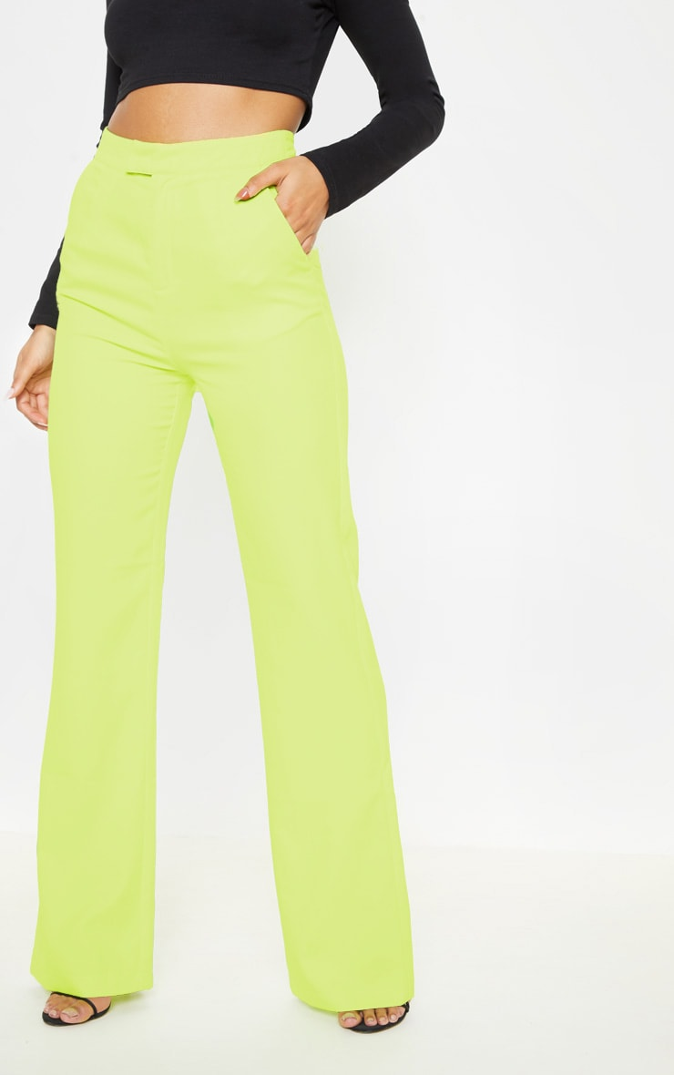 Neon Lime Wide Leg Pants  2