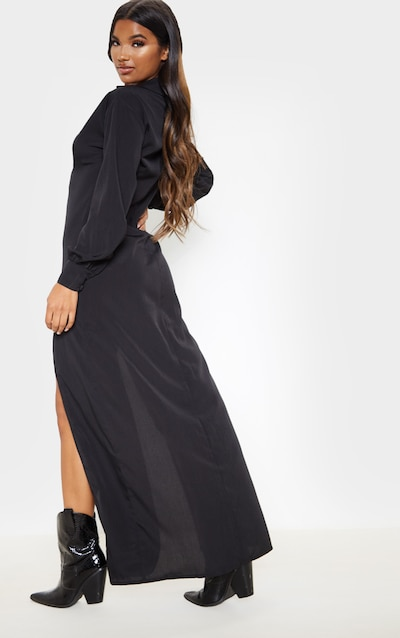 Black Split Front Maxi Shirt Dress