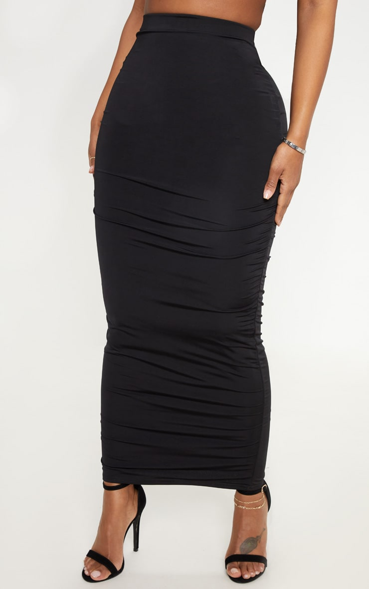Shape Black Slinky Midaxi Skirt  2