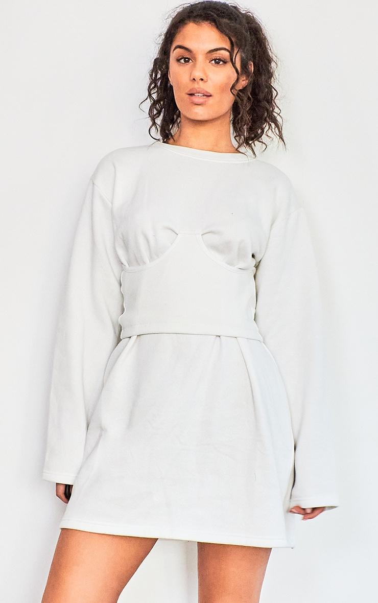 Cream Rib Corset Detail Sweat Jumper Dress 1