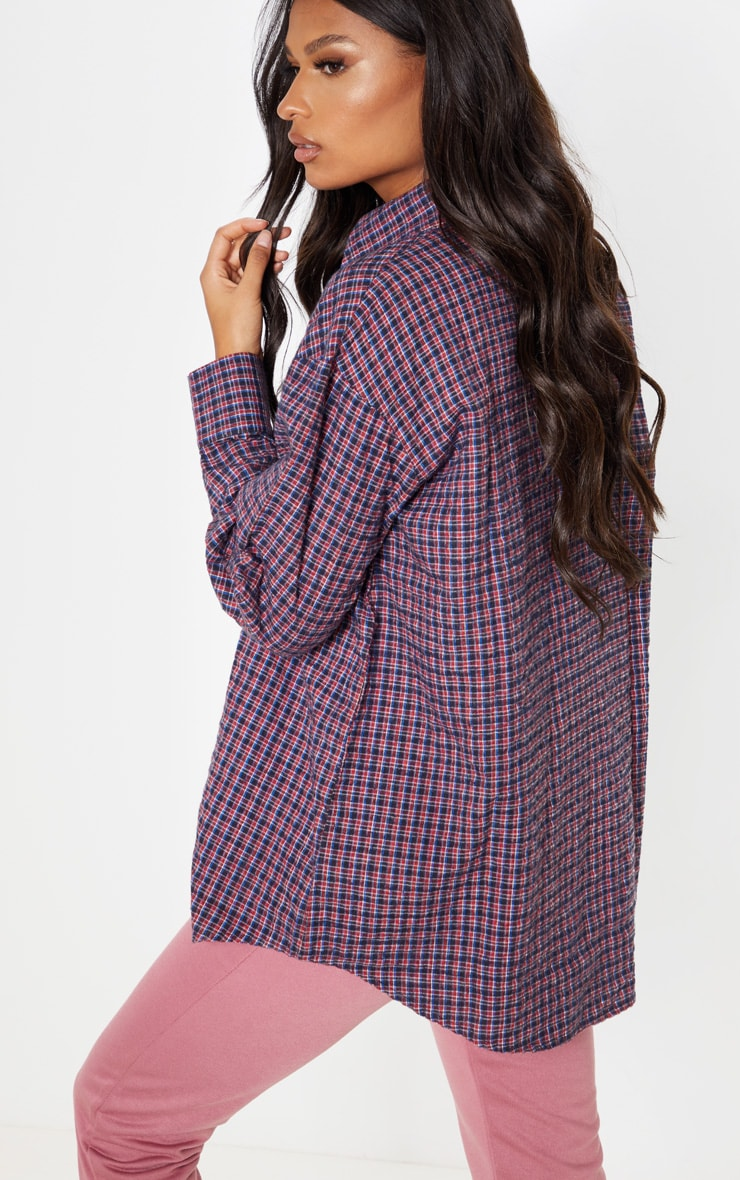 Red Checked Oversized Dad Shirt 2