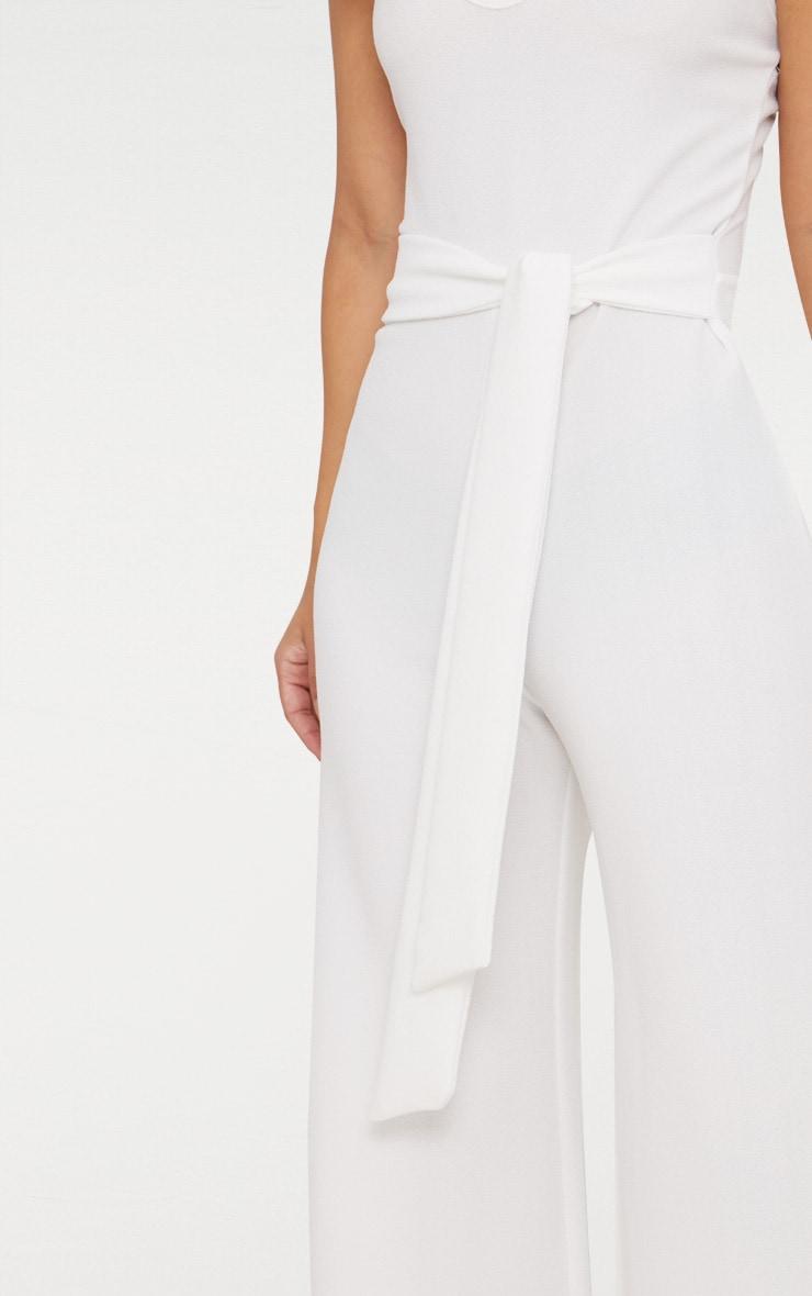 Petite White Tie Waist Wide Leg Jumpsuit 5