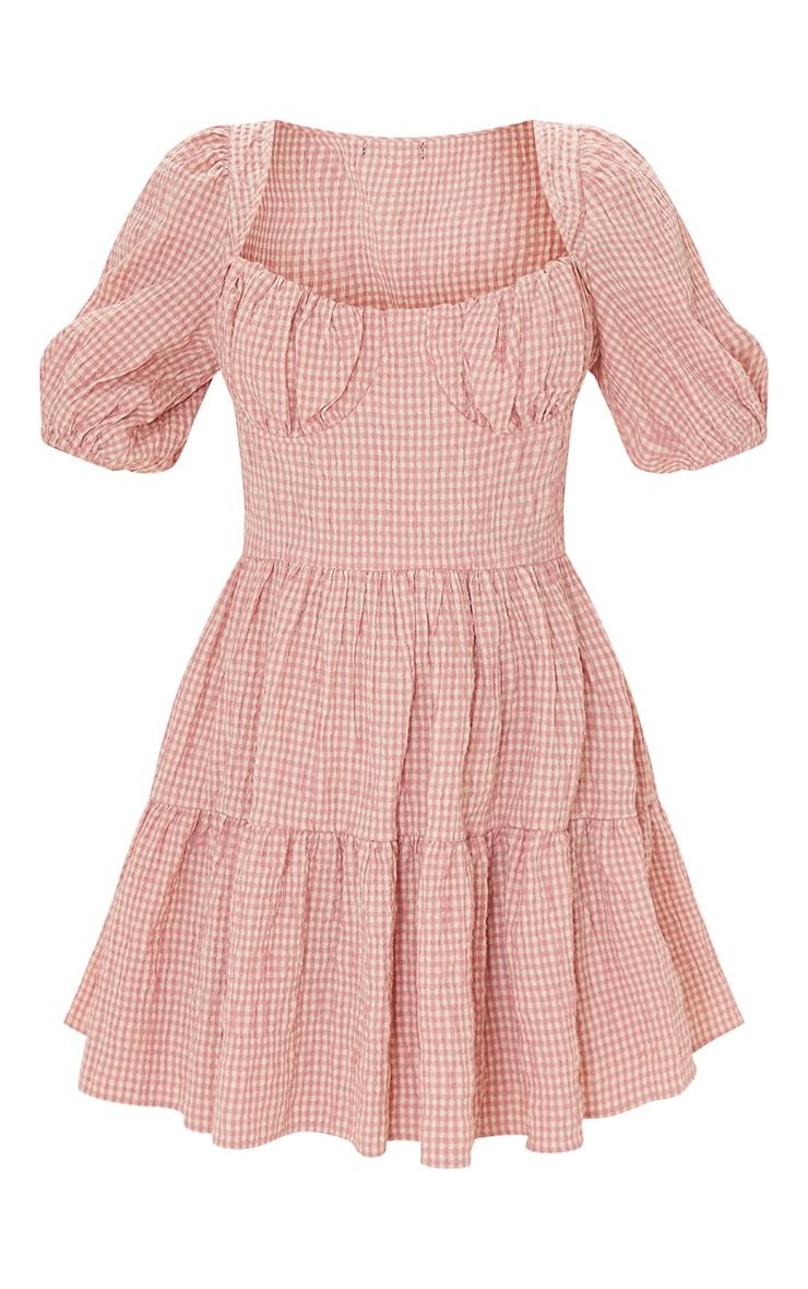 Pink Gingham Print Crinkle Underbust Detail Tiered Smock Dress 5