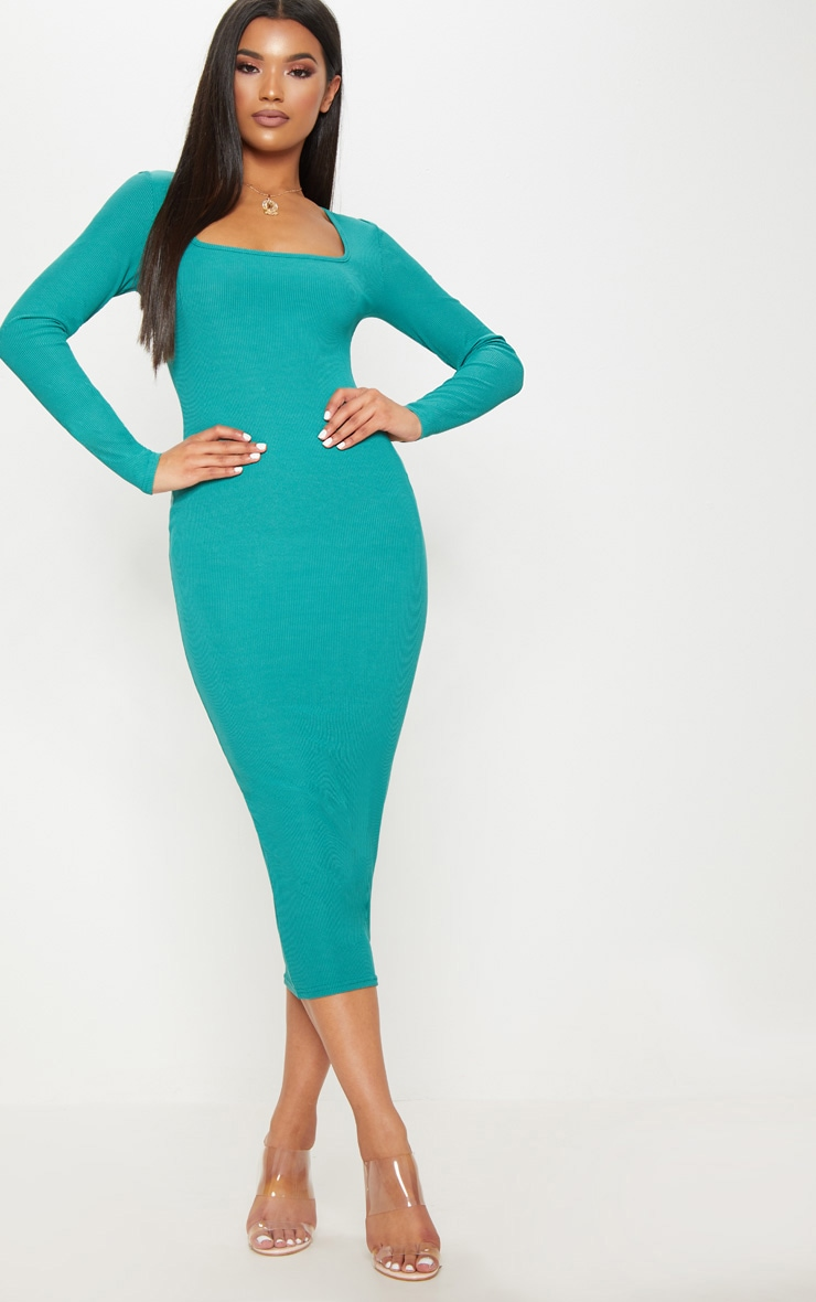 Deep Turquoise Ribbed Long Sleeve Midaxi Dress 1
