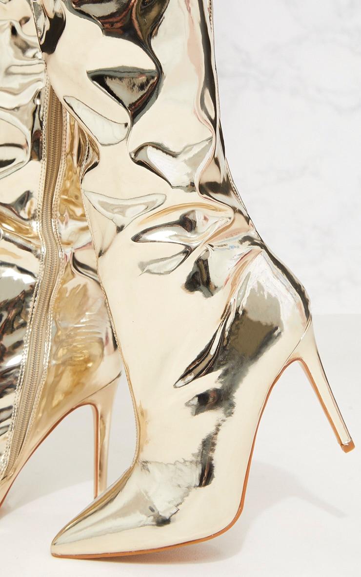 Gold Metallic Thigh High Boot 5