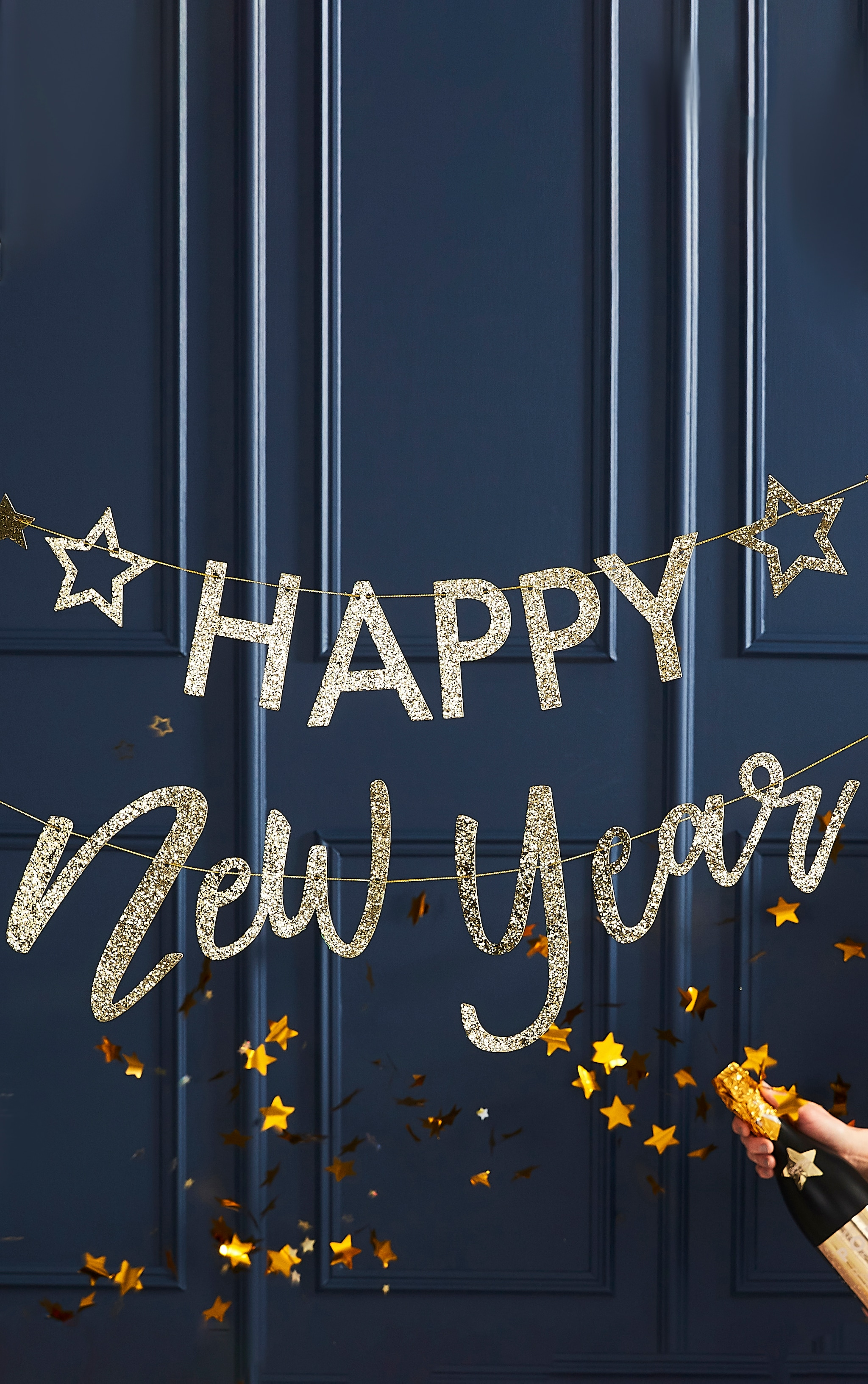 Ginger Ray Bunting Happy New Year Gold Glitter 1