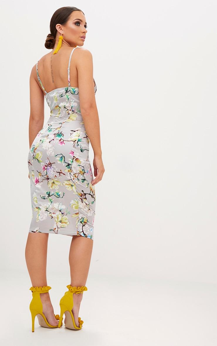 Grey Floral Strappy Satin Twist Detail Midi Dress 2