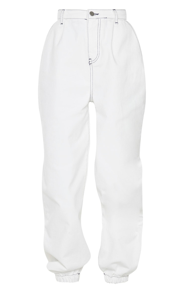 White Contrast Stitch Cuffed Extreme Jogger Jeans 5