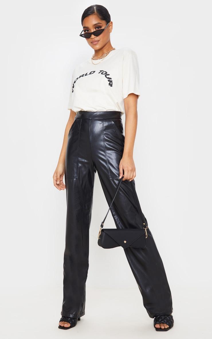 Black Pocket Detail Faux Leather Straight Leg Pants 1