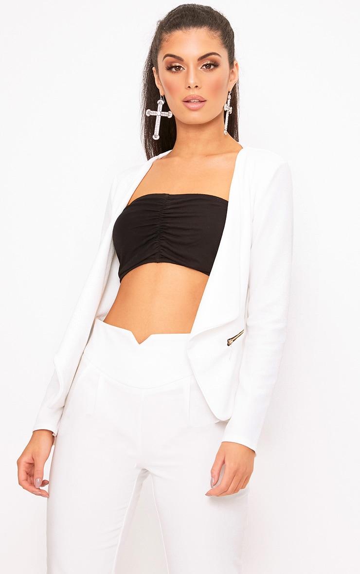 White Zip Pocket Blazer 1
