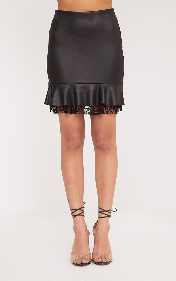 Kellen Black Wet Look Lace Layer Mini Skirt 2