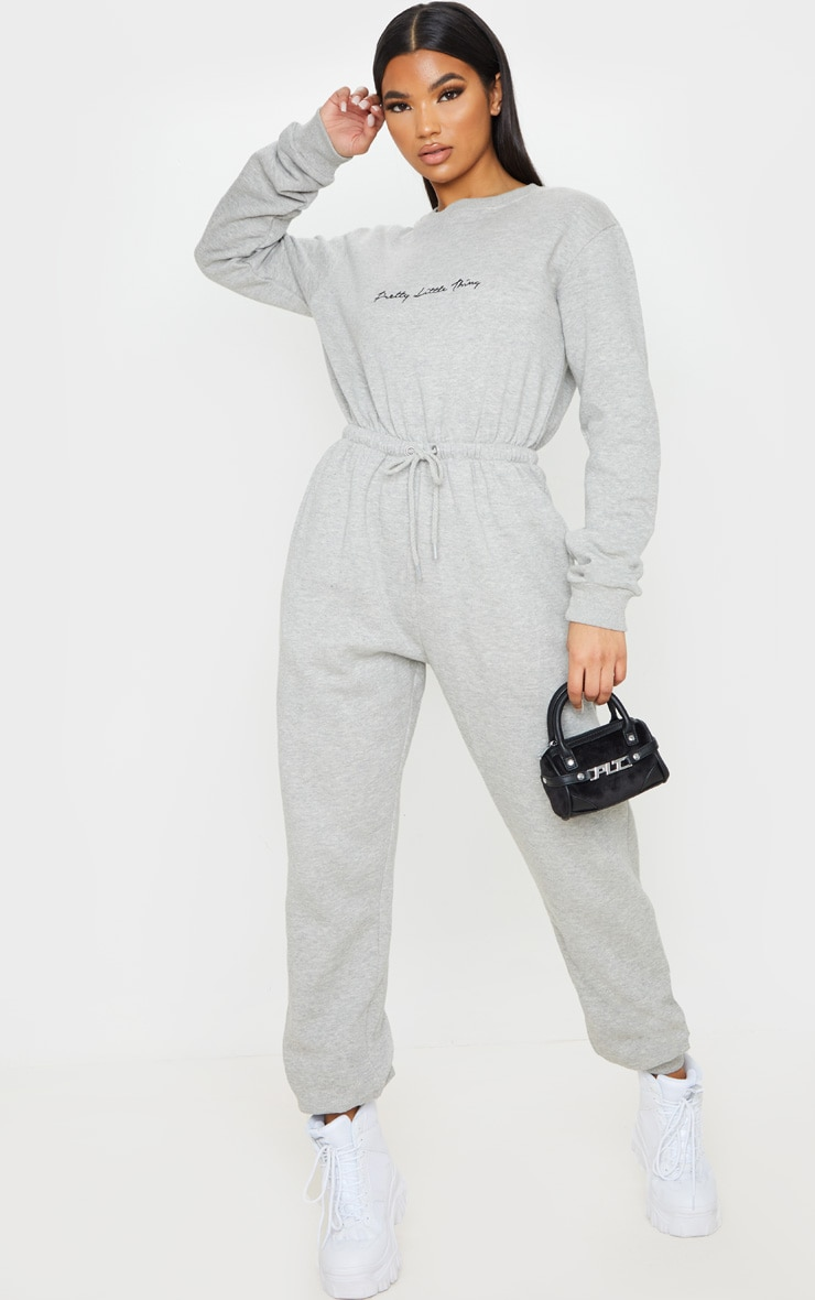 PRETTYLITTLETHING Grey Embroidered Sweat Jumpsuit 6