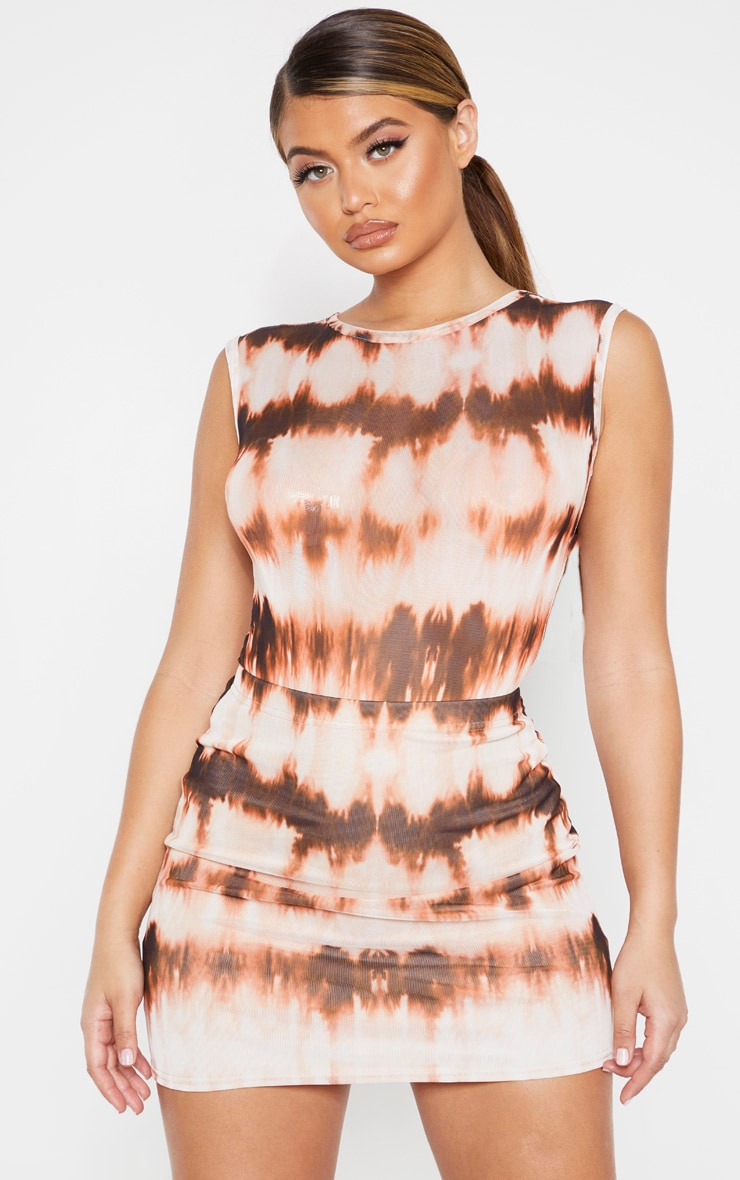 Brown Tie Dye Mesh Printed Bodysuit 1