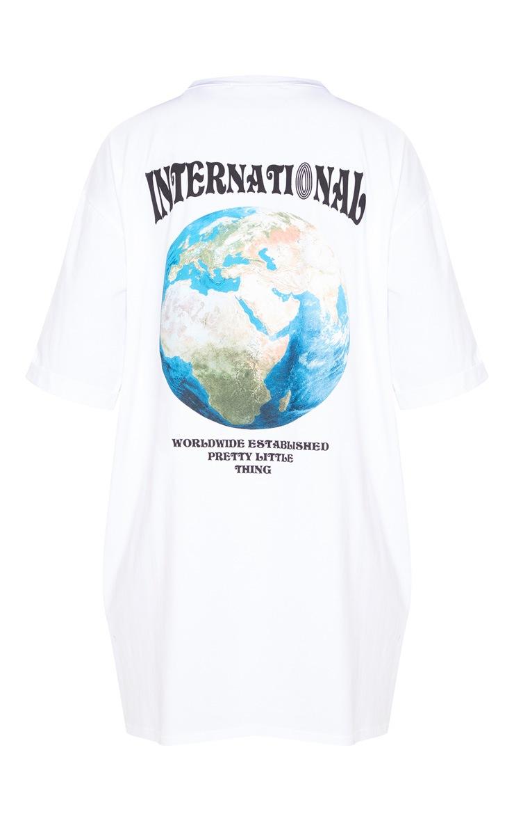 Ecru International Slogan Extra Oversized Boyfriend T Shirt Dress 4
