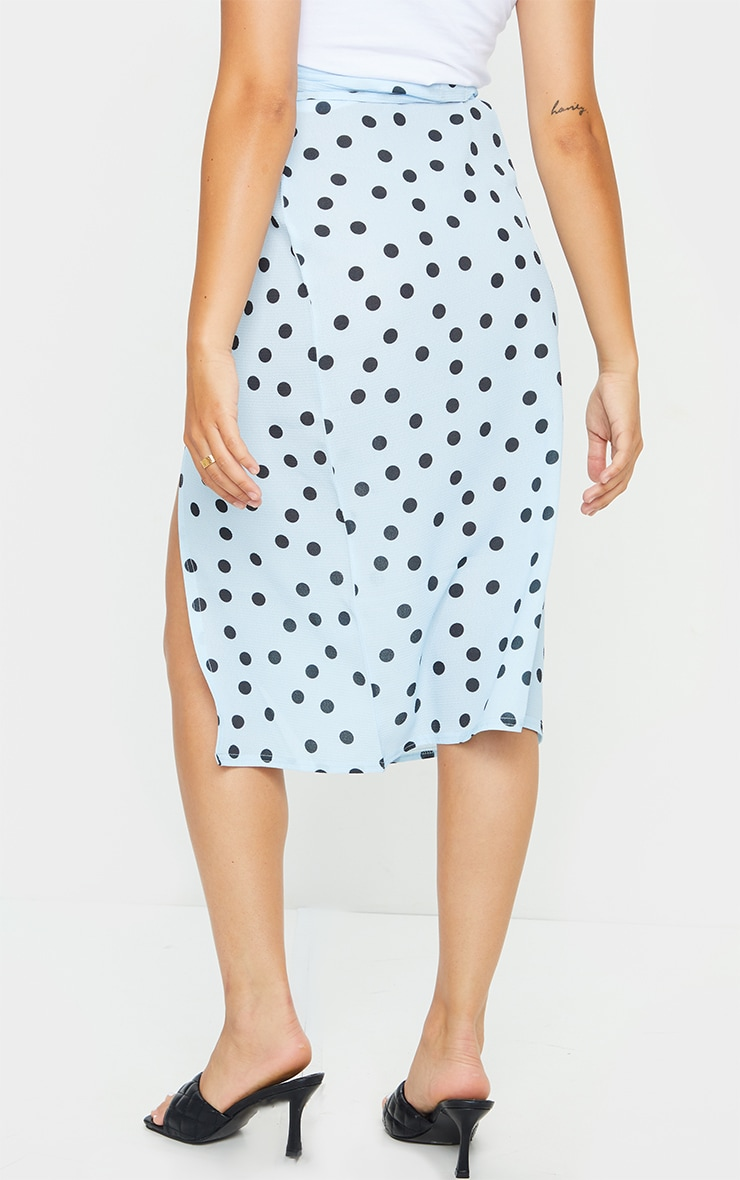 Blue Wrap Around Polka Dot Midi Skirt 3