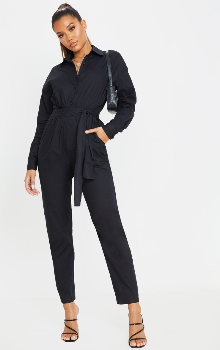 Black Tie Waist Shirt Jumpsuit 1