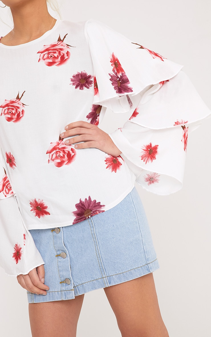 Lexia White Frill Longsleeve Floral Printed Blouse  4