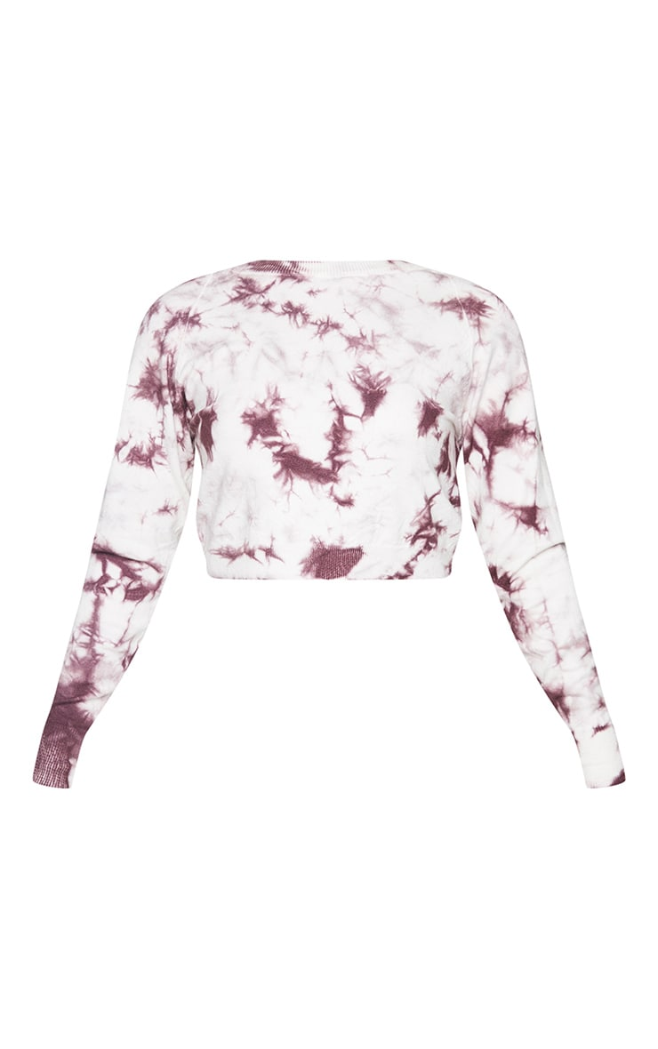 White Tie Dye Cropped Knitted Jumper 5