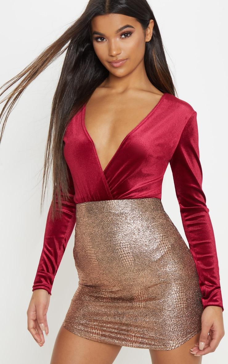 Burgundy Plunge Velvet Long Sleeve Bodysuit 1