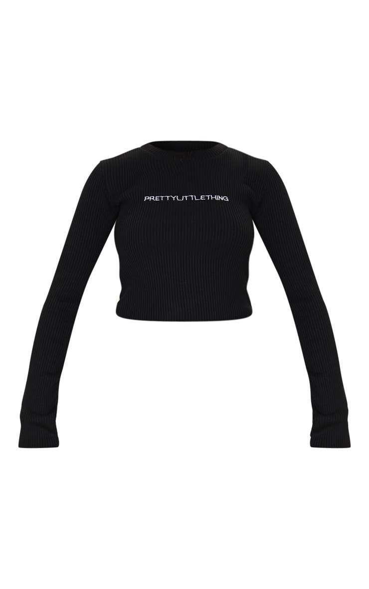 PRETTYLITTLETHING Black Ribbed Crop Sweater 5