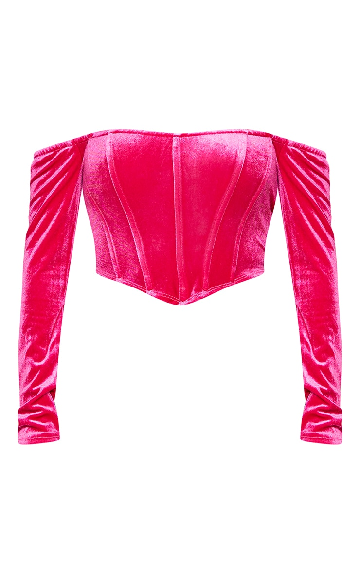Shape Hot Pink Velvet Bardot Long Sleeve Corset 5