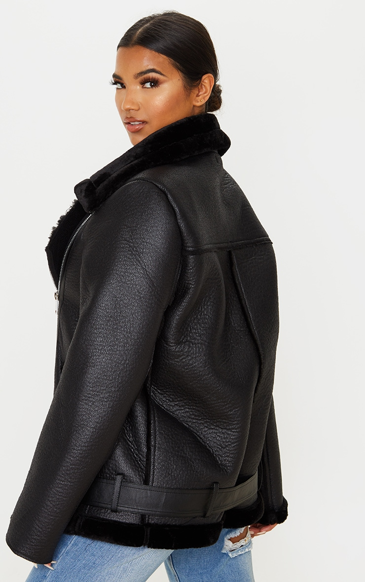 Black Oversized PU Aviator 3
