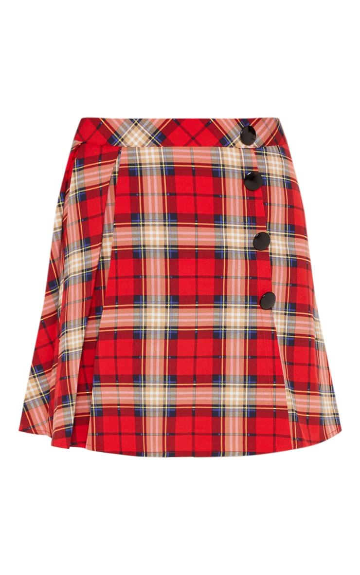 Red Tartan Pleated Button Mini Skirt 3