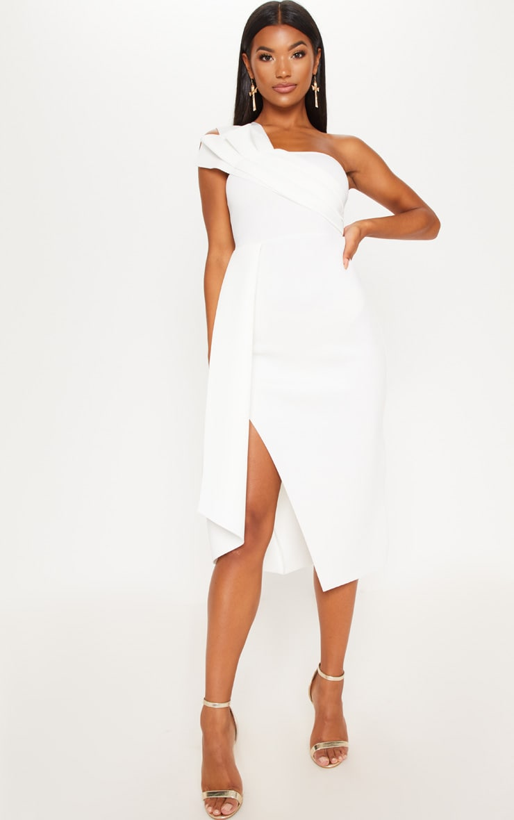 White Bonded Scuba Pleated Draped Midi Dress 1