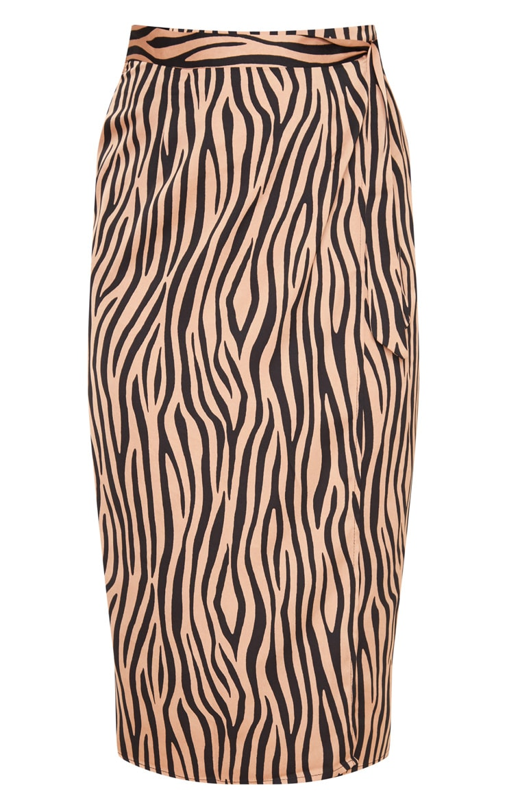 Champagne Zebra Print Satin Wrap Midi Skirt 3