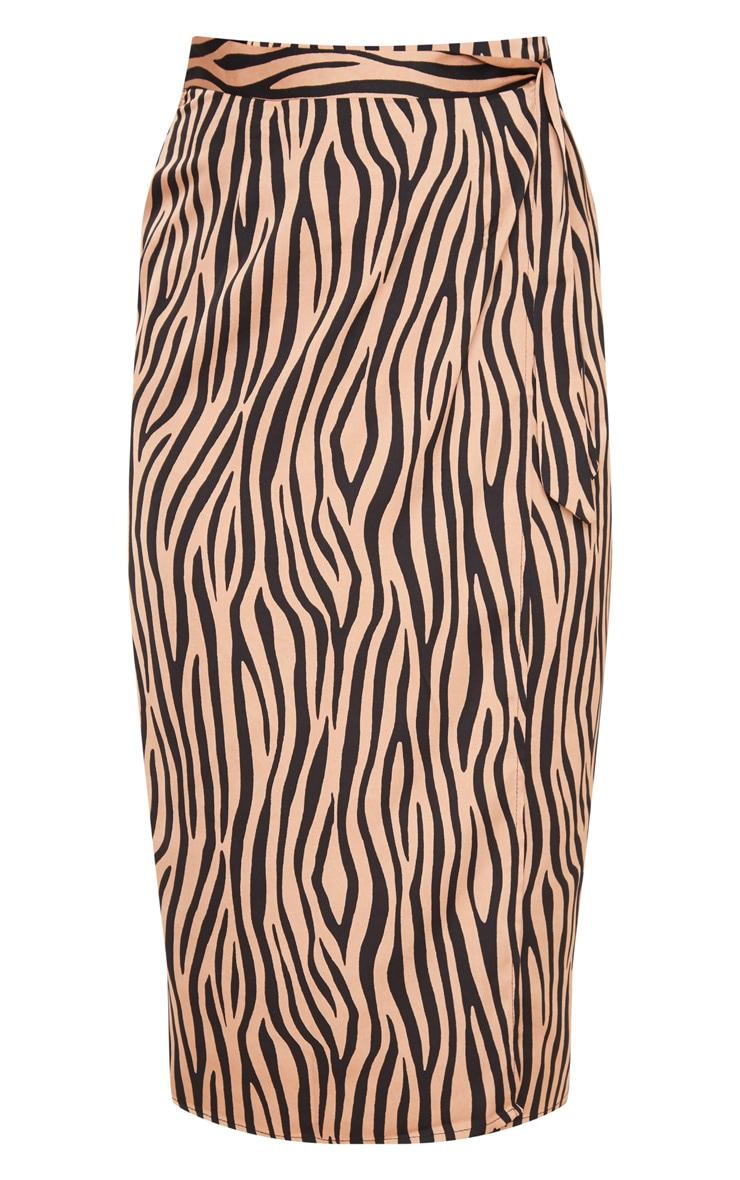 Champagne Zebra Printed Wrap Around Midi Skirt 3