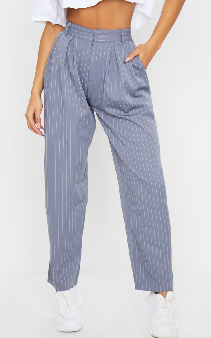 Charcoal Grey Pinstripe Woven High Waisted Cigarette Trousers 3