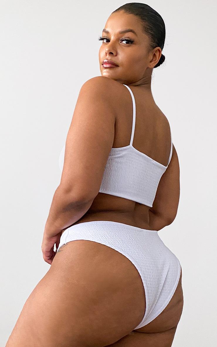 Plus White Crinkle Scoop Neck Bikini Top 2