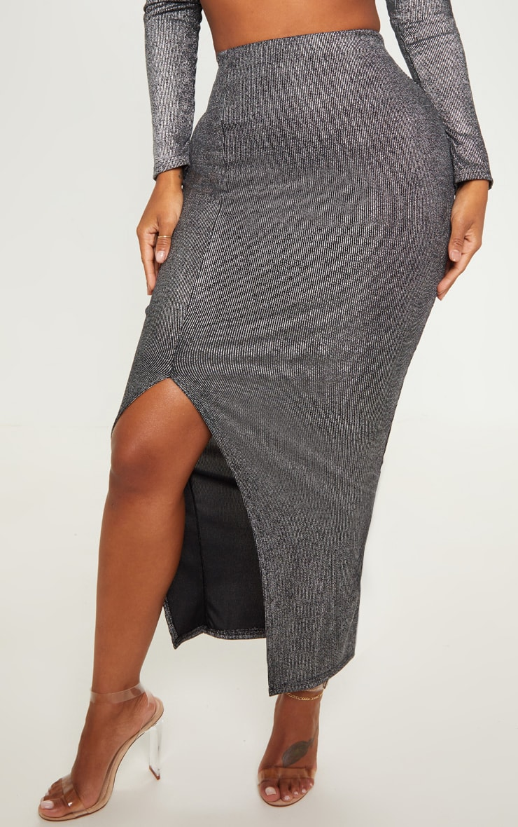 Shape Black Metallic Rib Midaxi Skirt  2
