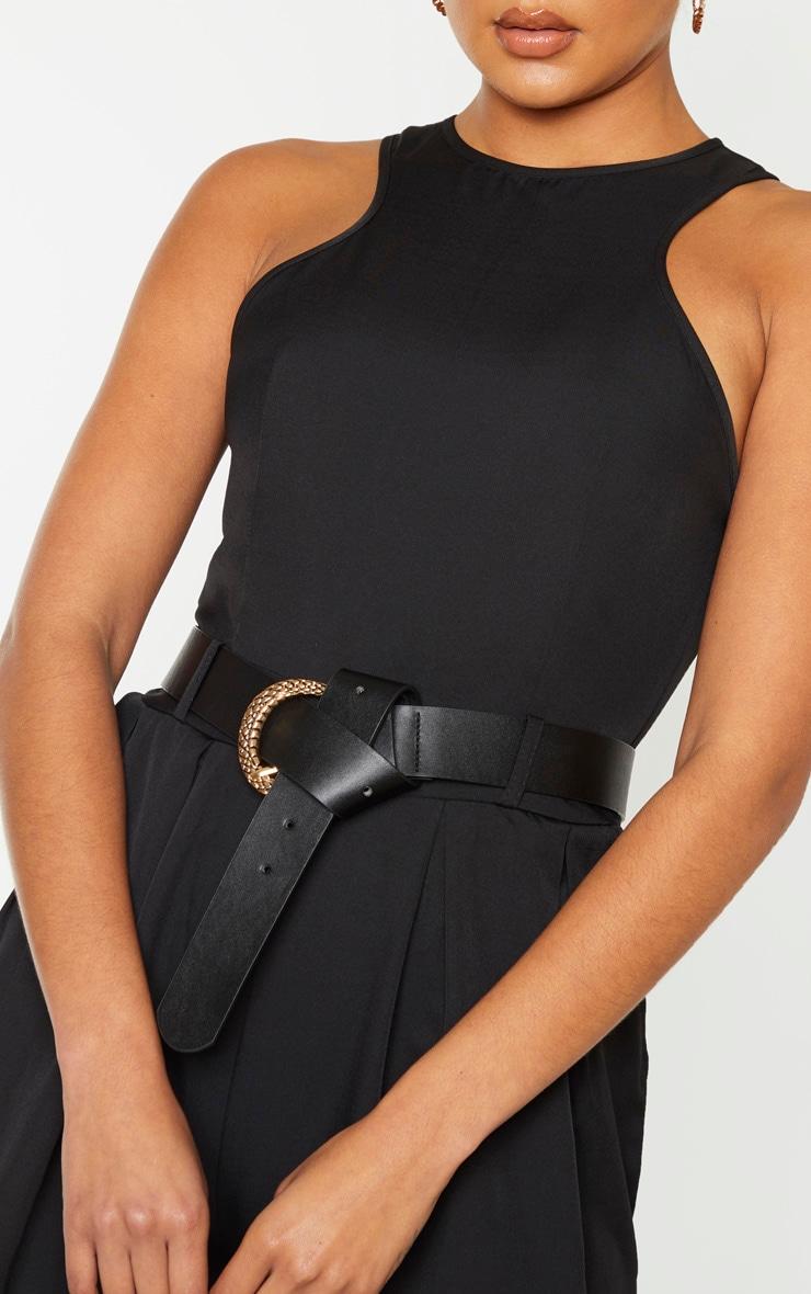 Black Racer Back Pocket Detail Jumpsuit 5