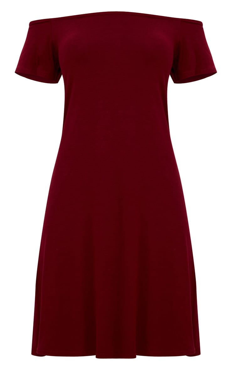 Manina Burgundy Jersey Bardot Shift Dress 3