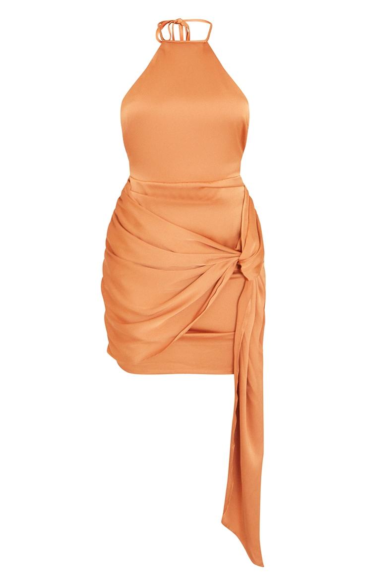 Rust Satin Halterneck Ruched Drape Detail Bodycon Dress 5