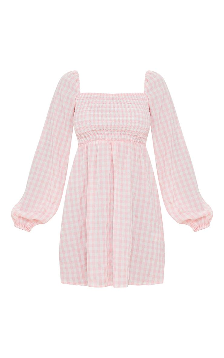 Pink Gingham Print Shirred Smock Dress 5