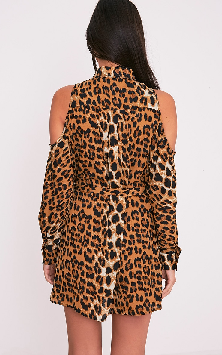 Calie Leopard Print Cold Shoulder Shirt Dress 2