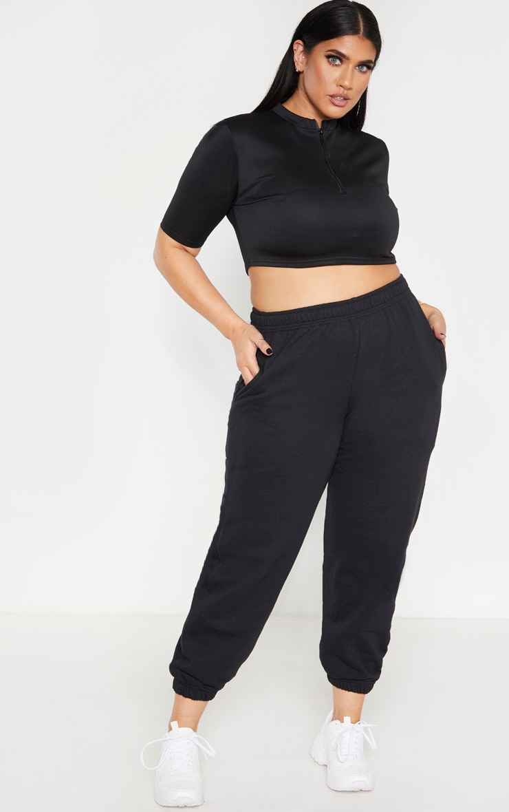 Plus Black Casual Sweat Jogger 1
