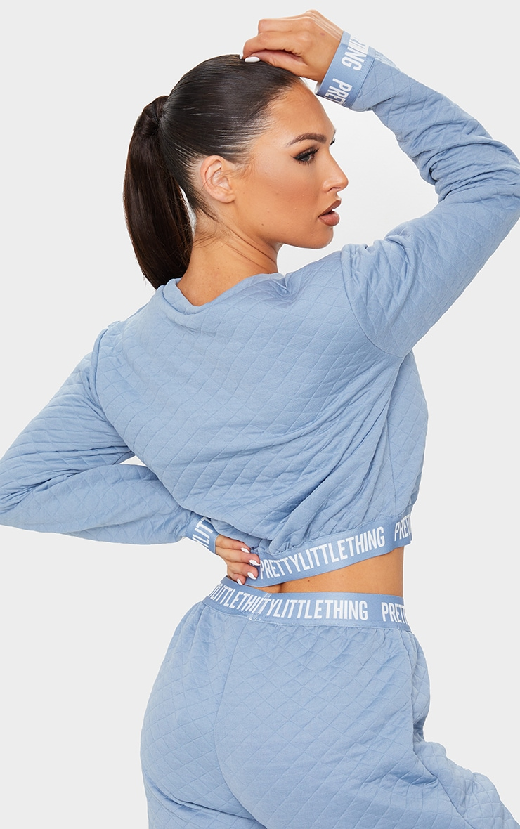 PRETTYLITTLETHING Blue Steel Tape Hem Waffle Crop Sweater 2