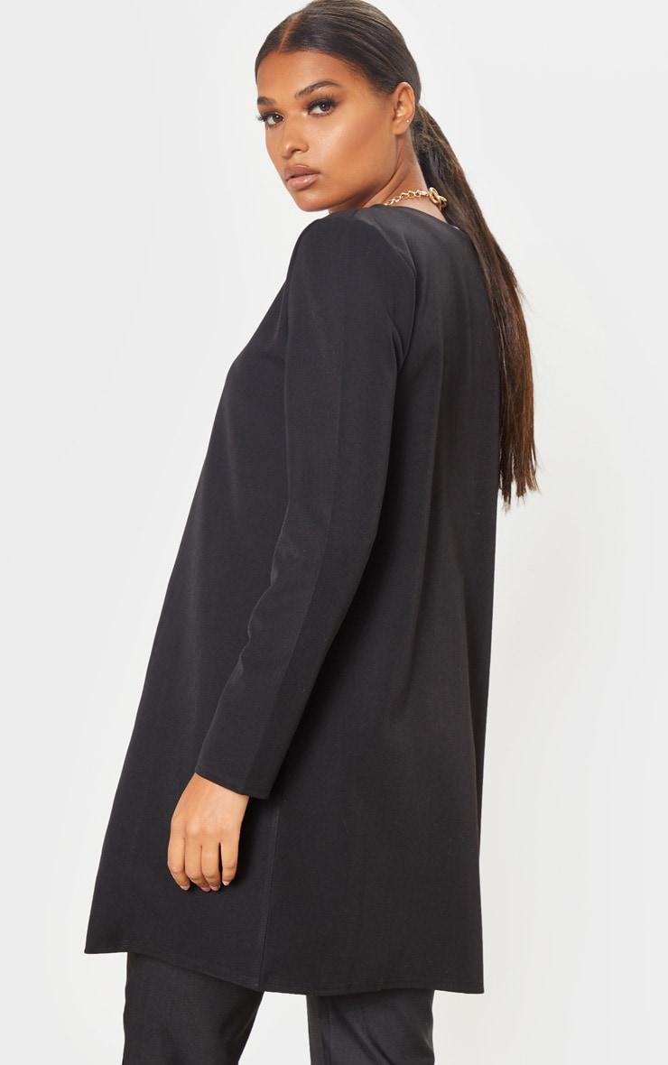 Black Collarless Longline Jacket 2