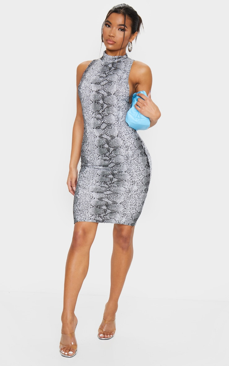Grey Snake Print High Neck Midi Dress 3