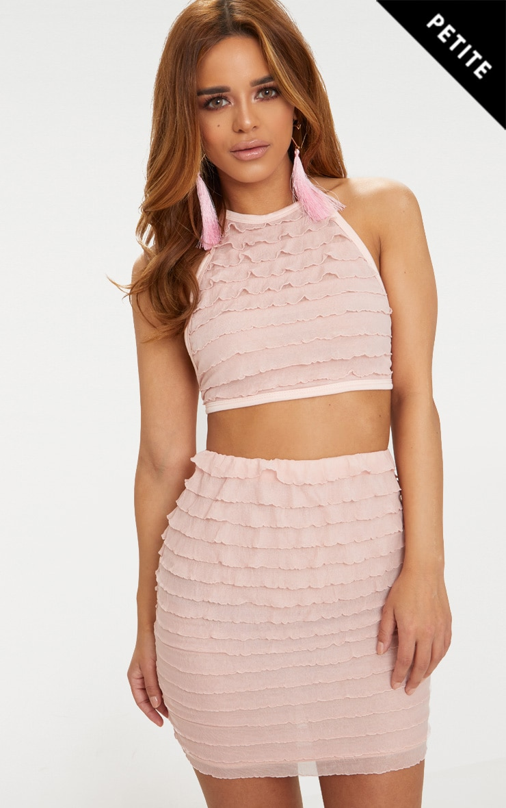 Petite Blush Ruffle Halterneck Crop Top 1