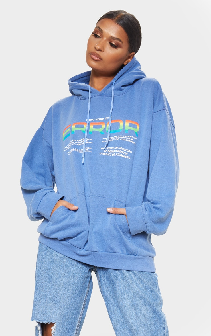 Washed Blue Error Slogan Oversized Hoodie 1