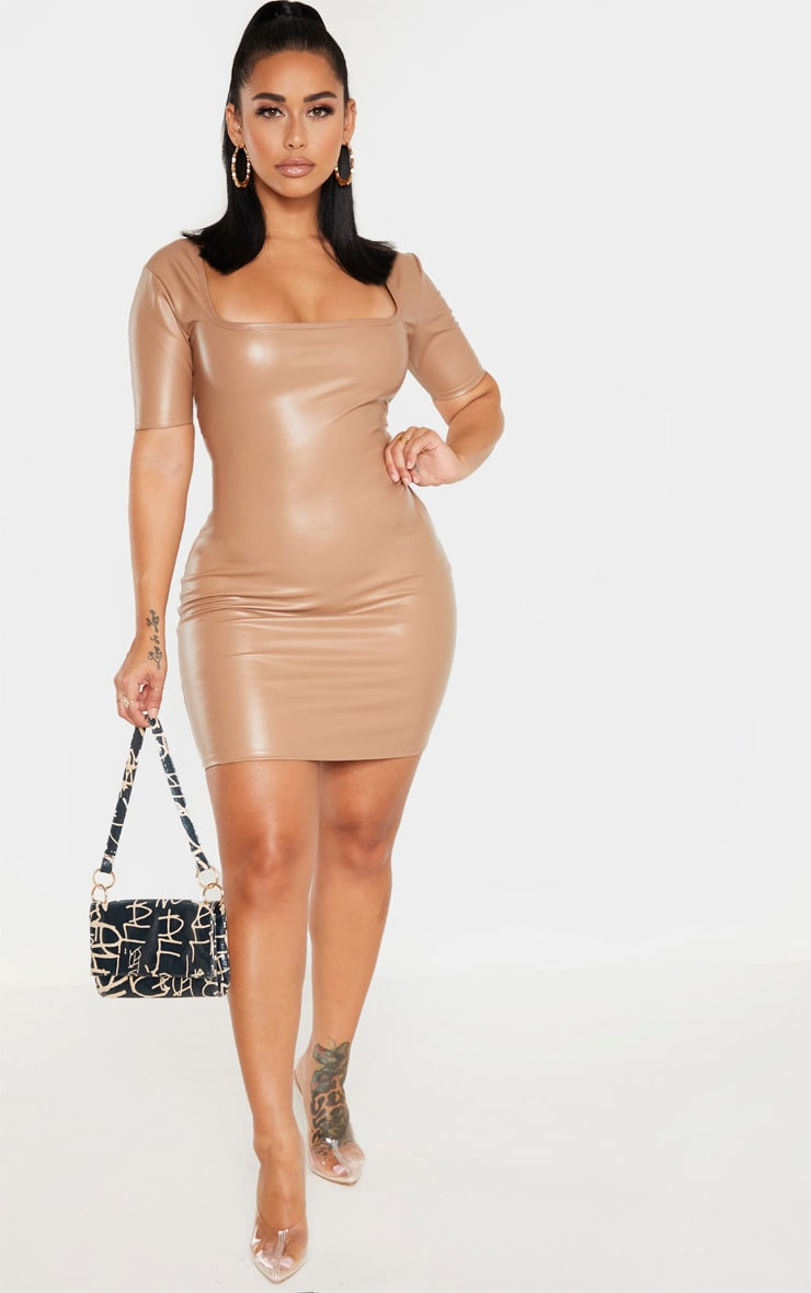 Shape Taupe PU Square Neck Short Sleeve Bodycon Dress 4