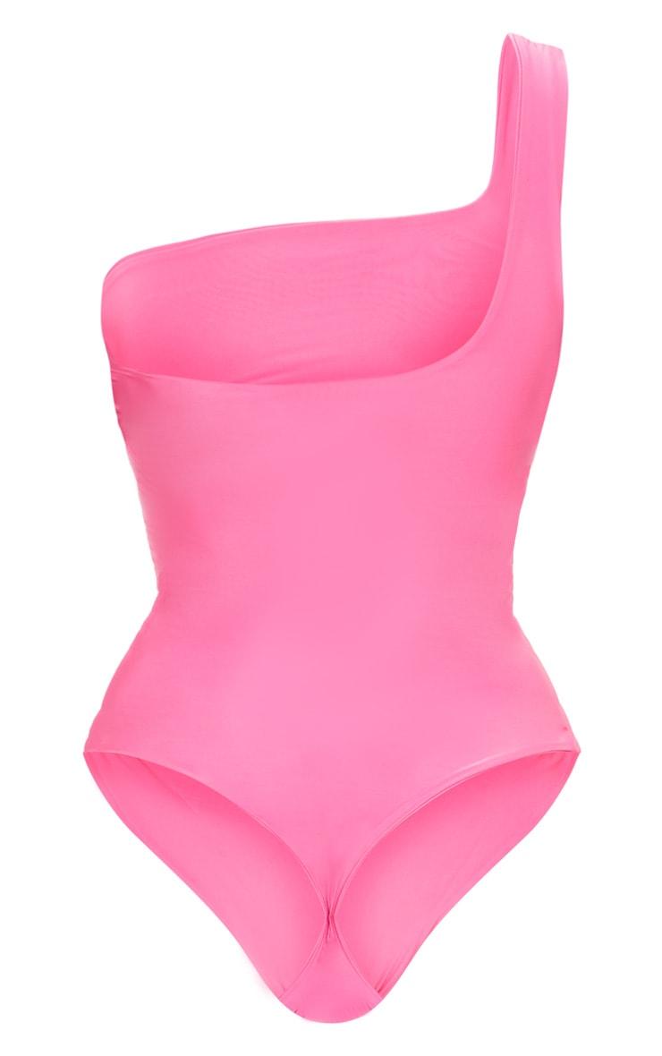 Hot Pink One Shoulder Slinky Bodysuit 4