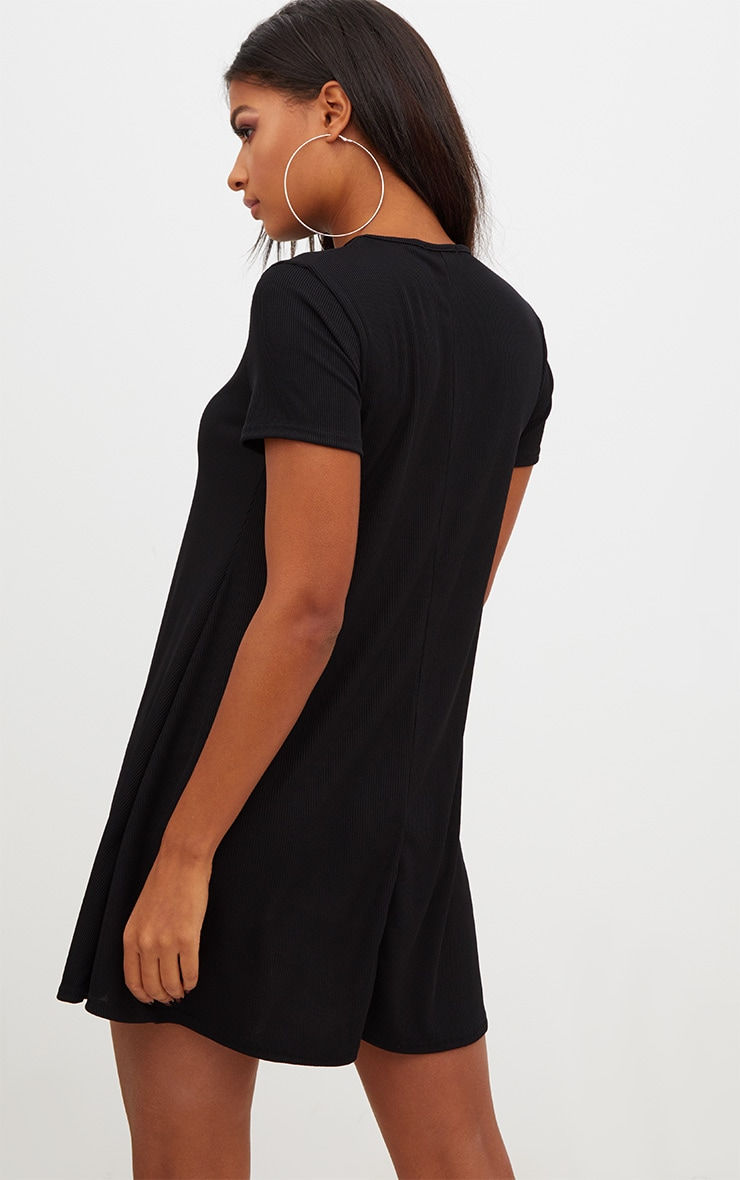 Black Ribbed Cap Sleeve Swing Dress 2