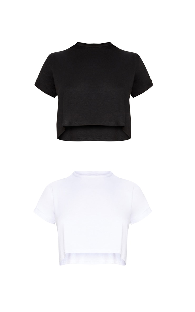 Basic Black & White 2 Pack Roll Sleeve Crop T Shirt  3