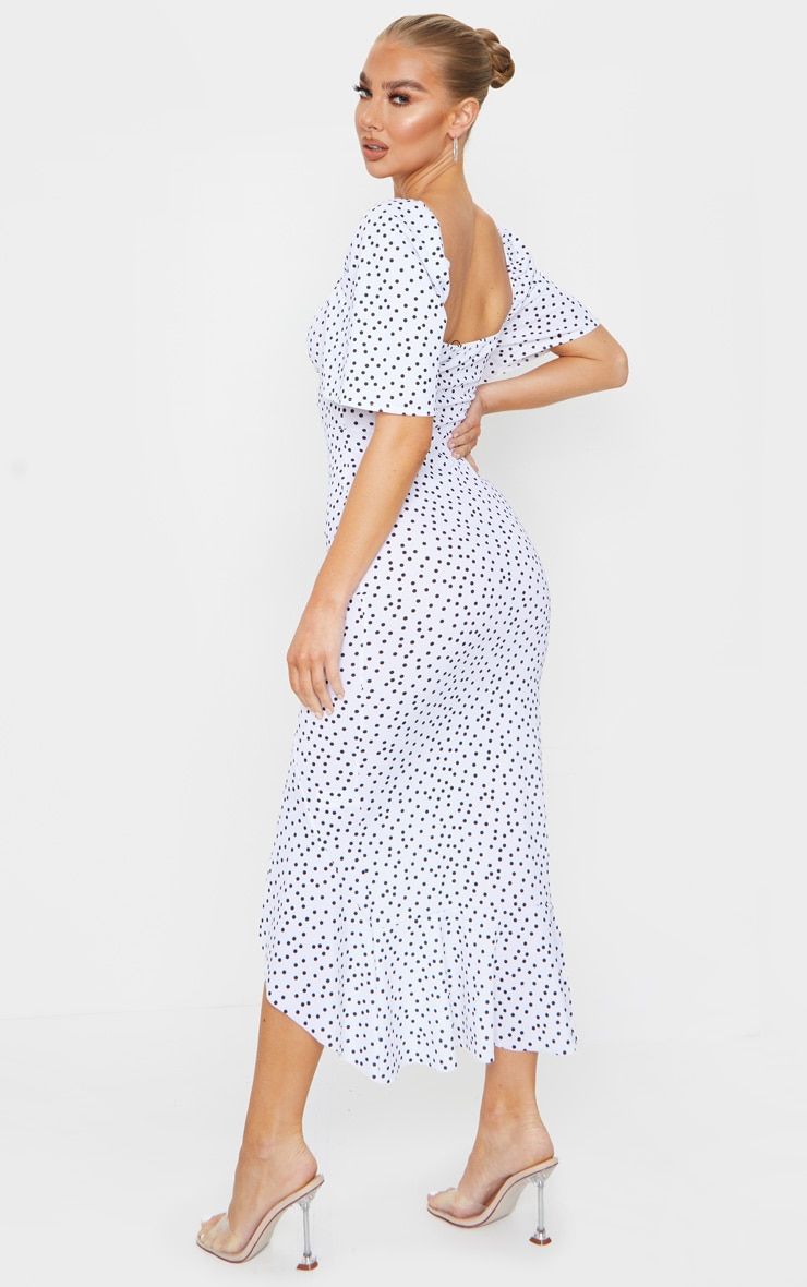 White Polka Dot Ruched Bust Short Sleeve Midi Dress 2
