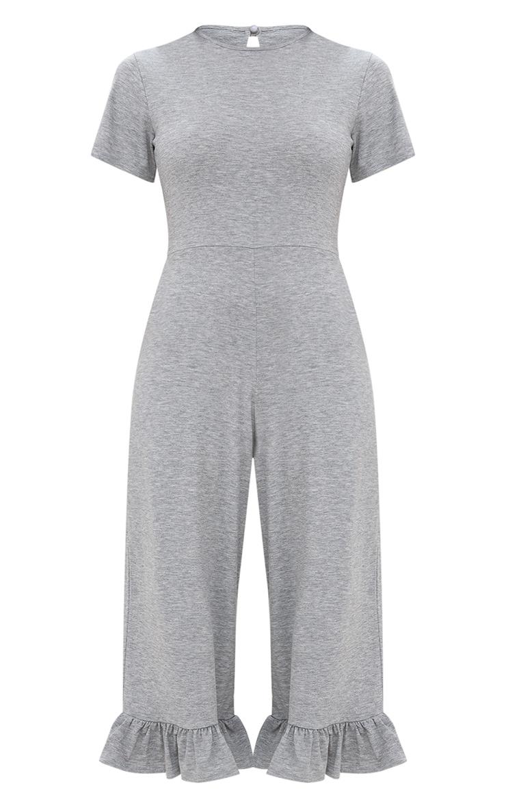 Grey Marl Jersey Short Sleeve Frill Hem Culotte Jumpsuit 3